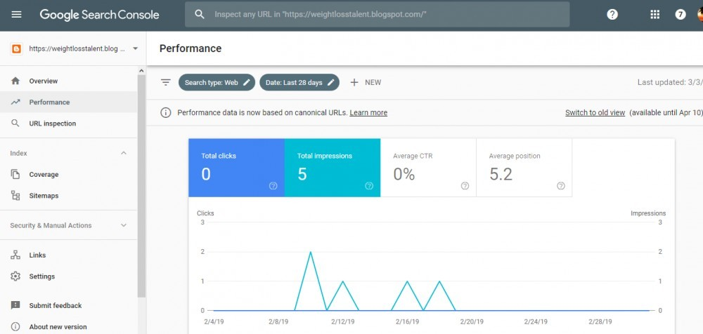 google search console performance view