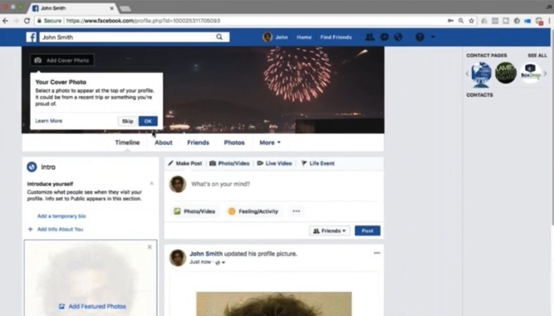 Facebook account page