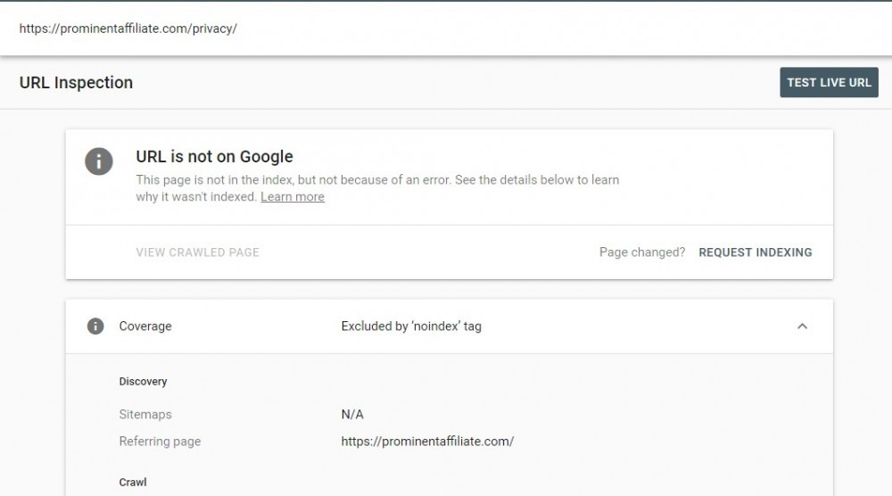 URL is not on Google
