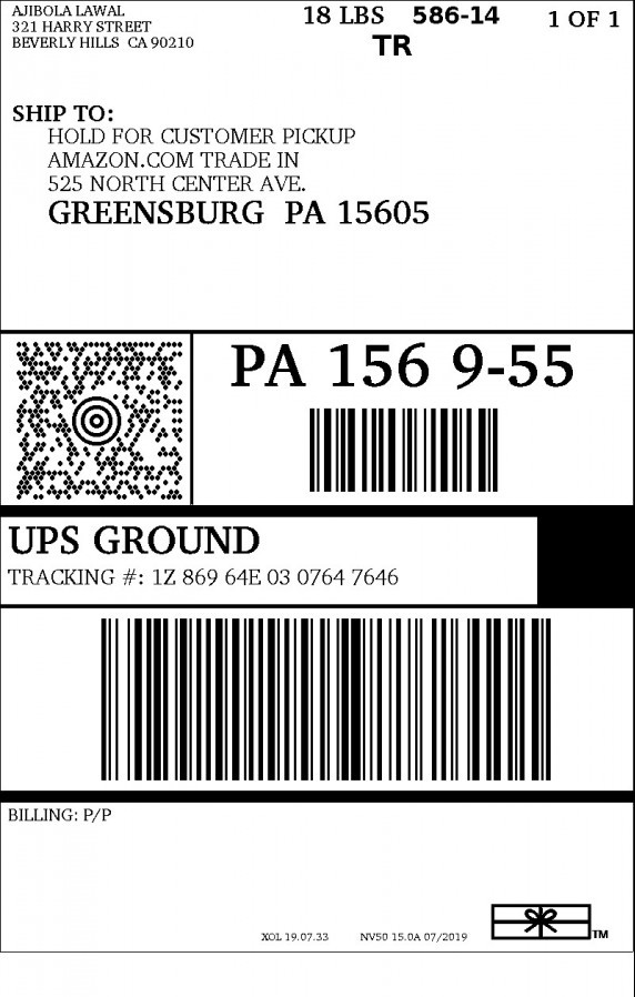 Amazon's print packing label and packing slip