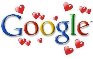 The word Google with hearts around it