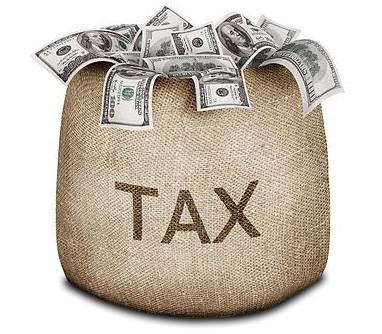 Tax bag filled with money