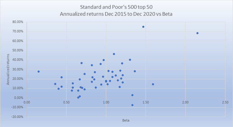 S and P 500 top 50 last 5 yrs rtns vs beta