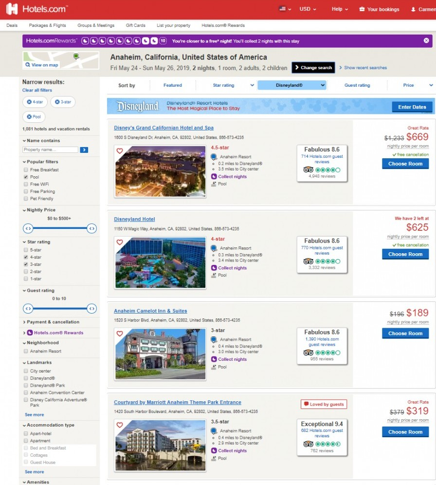 where to stay in disneyland