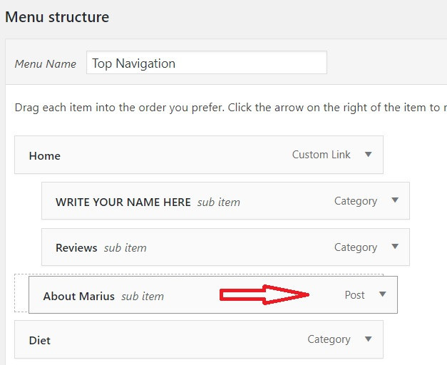 How to change menu in WordPress