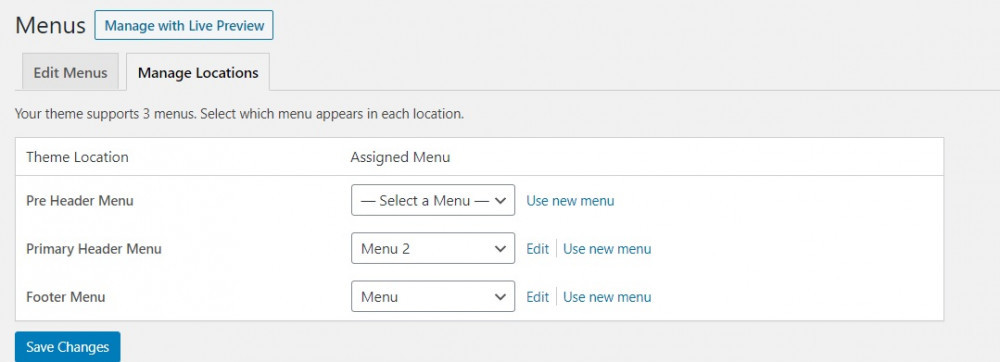 Changing Location of Your WordPress Menu