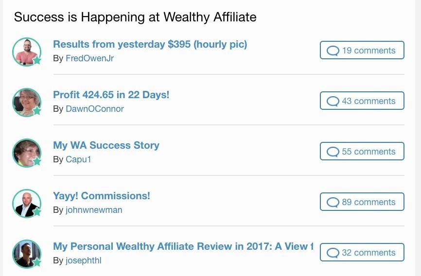Wealthy Affiliates Success Stories
