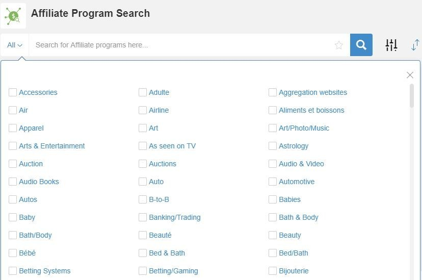 specific category search