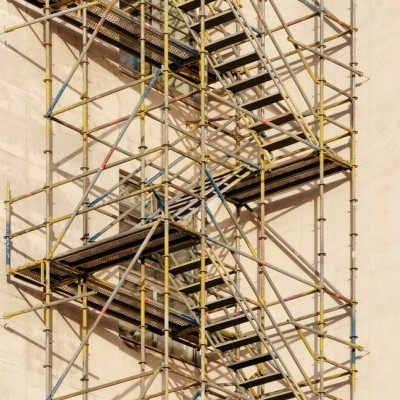 Scaffolding around a building. Used as an analogy for coaching children to regulate their behaviours.
