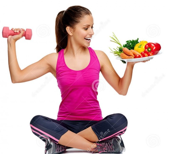 Healthy food and exercise Daily