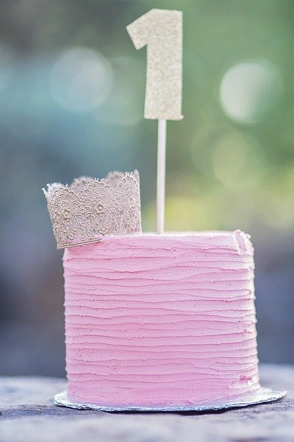 How to Throw a Budget Birthday Party for a One Year Old - Pink Birthday Cake with Silver Crown