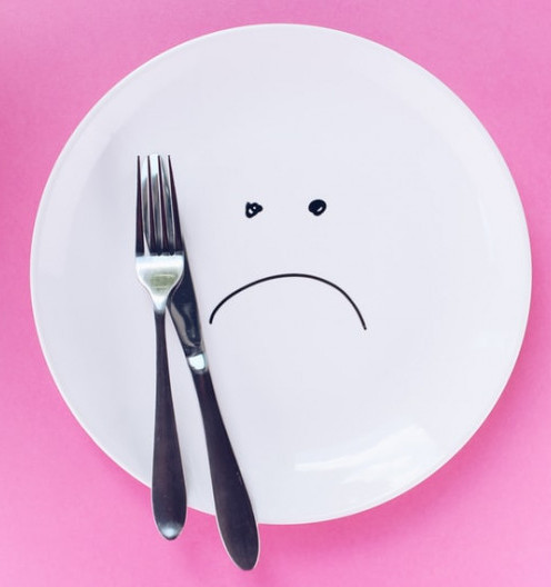 The Quickest Ways to Save Money at the Grocery Store - Plate with Frowny Face and a Fork and Knife