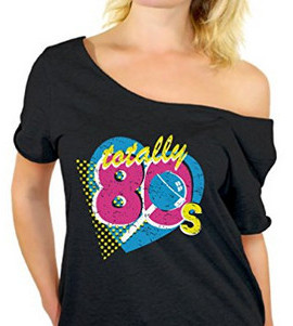classic 80s fashion - off the shoulder shirt