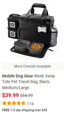 Week away dog travel tote screenshot