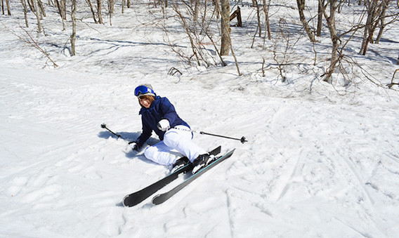 is downhill skiing fun - skier down