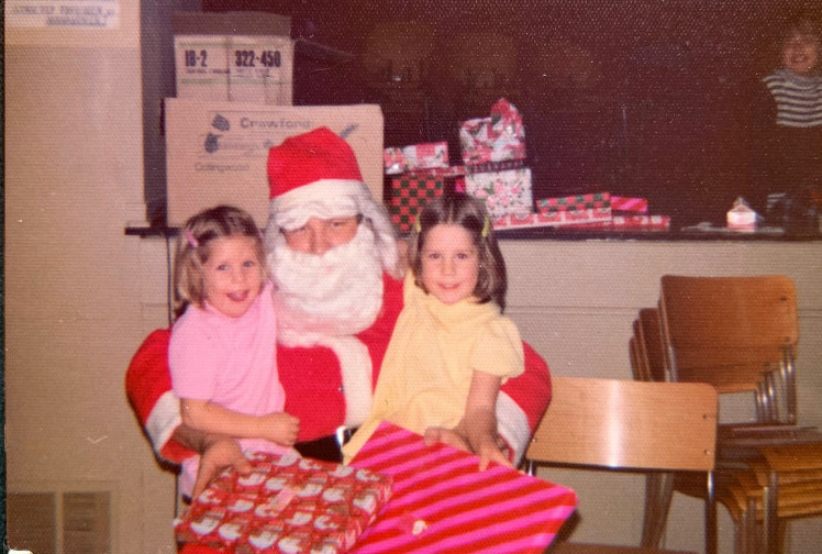 holiday time and family - carey and coralie with santa