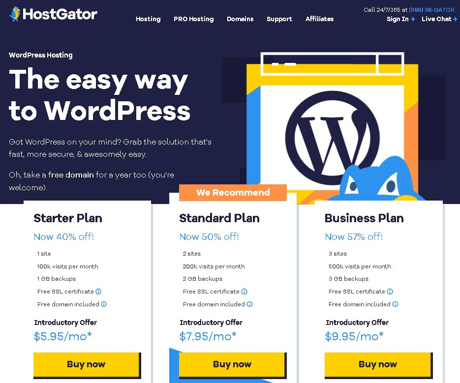 What is Hostgator about offers WordPress hosting