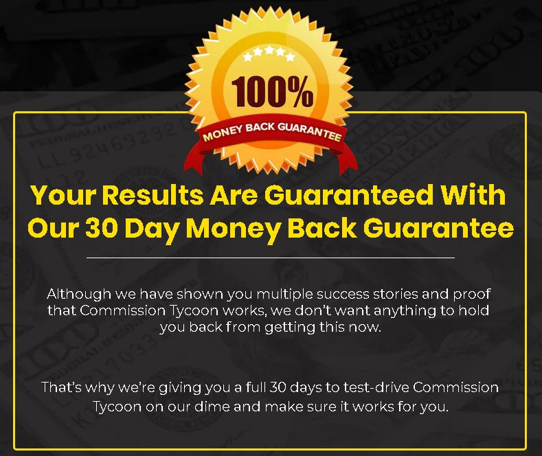 Commission Tycoon review money back guarantee