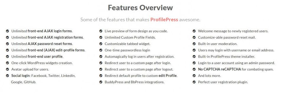 Features of ProfilePress plugin