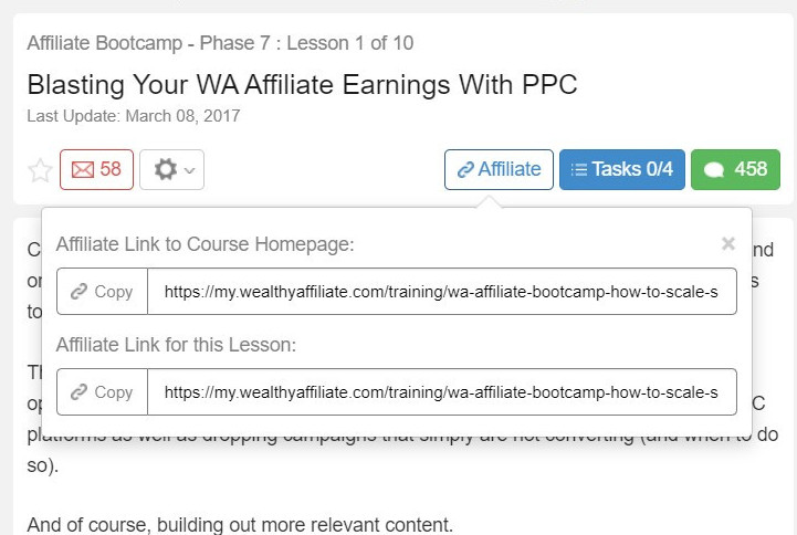 Wealthy Affiliate links to blog posts