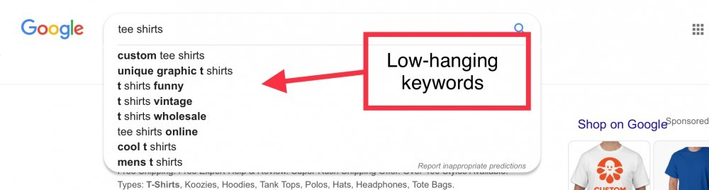 Low-hanging keywords on a google search bar
