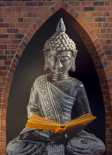 buddha reading a book