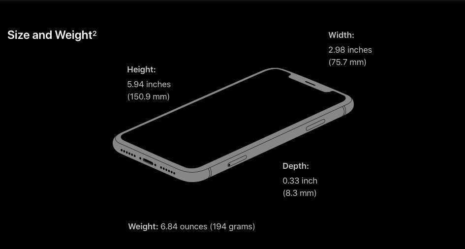 Weight and dimension of iPhone XR