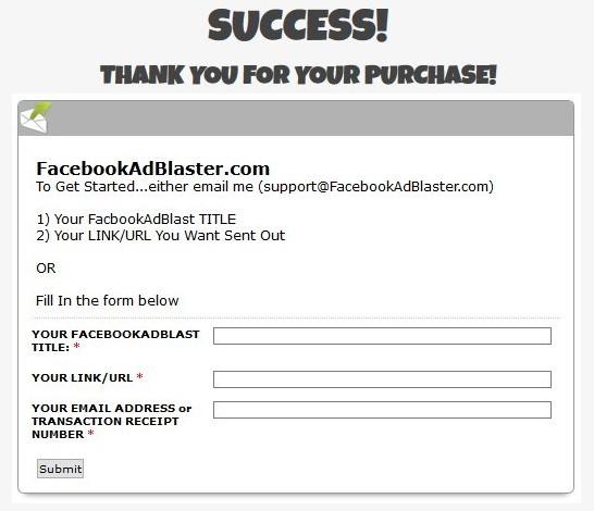 facebook ad blaster order form