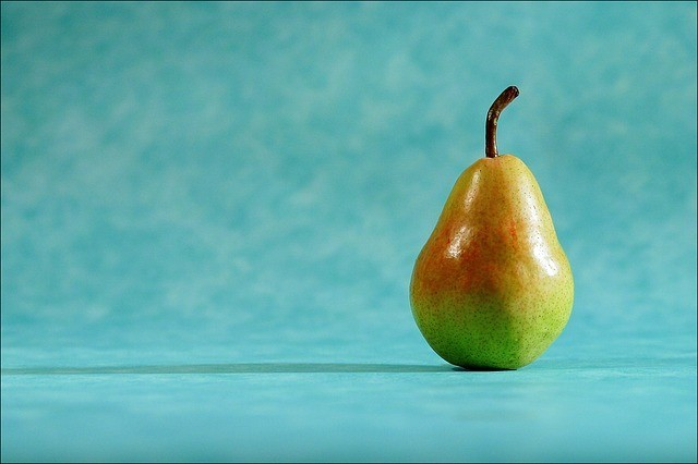 1 pear standing upright with aqua background