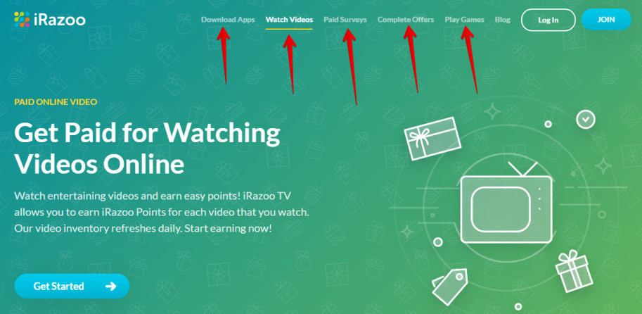 How to get paid for watching videos-An image of iRazoo