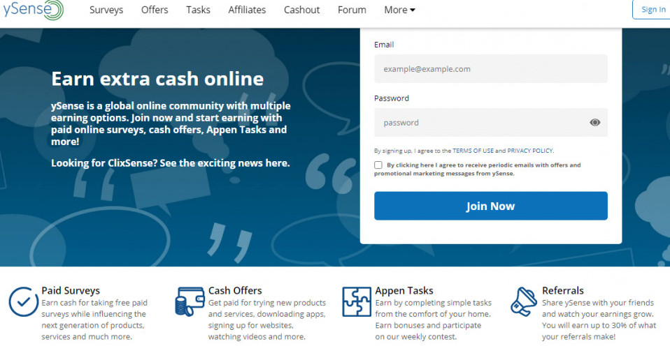 Online surveys for money in Canada-An image of ySense