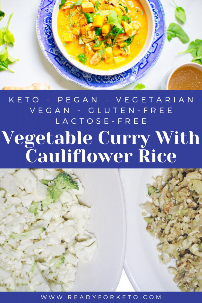 keto vegetable curry with cauliflower rice pinterest