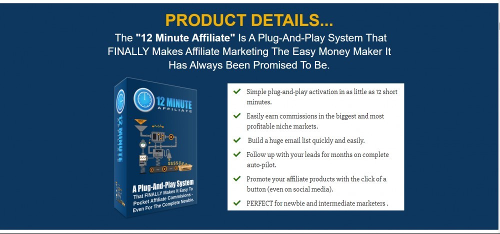 Affiliate Marketing 12 Minute Affiliate System Price Specification