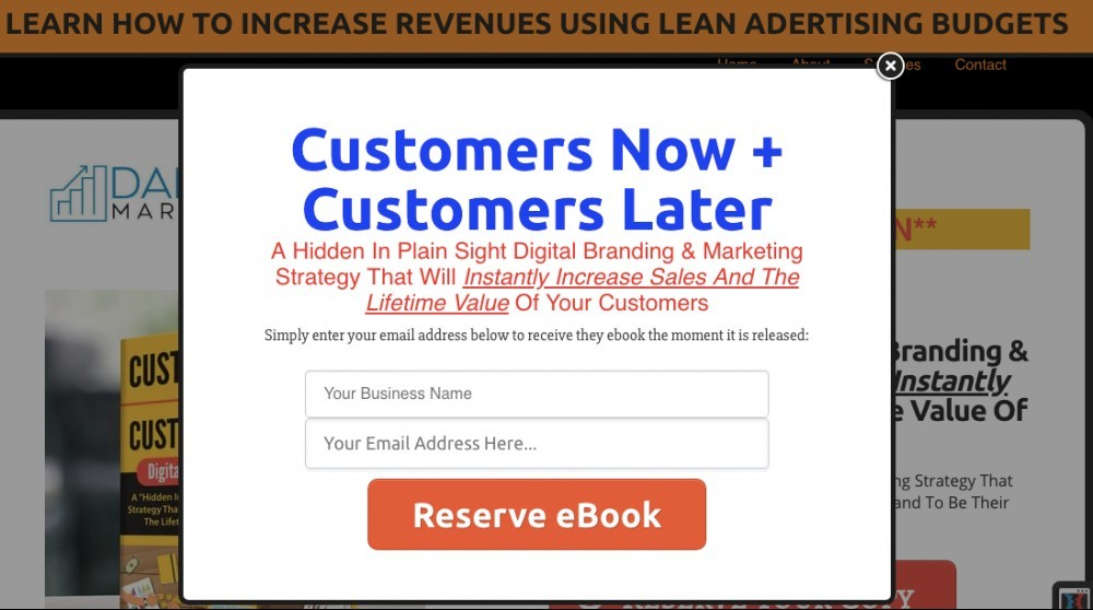 email lead capture page example