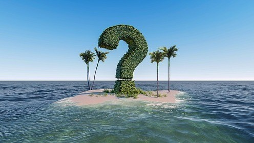 A sea with an island on which there are 4 palmtrees and a big green question mark in the middle