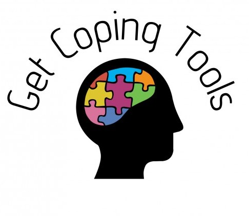 A puzzle inside a brain and a heading saying 'get coping tools'
