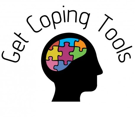 A puzzle inside a brain with a heading saying 'get coping tools'