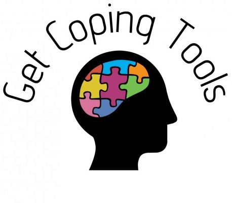 A brain with a puzzle inside and a header saying 'get coping tools'