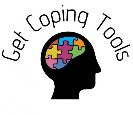 a logo made of a black face with a coloured puzzle in the brain with a header saying 'get coping tools'