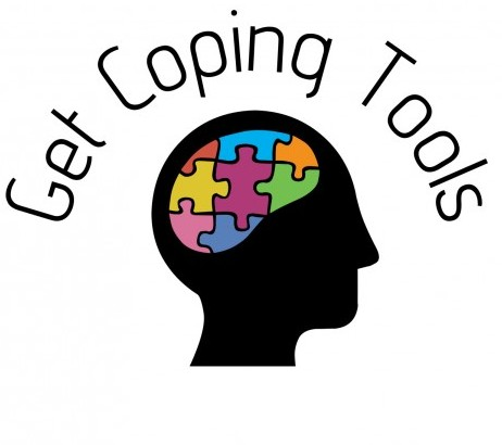 A black brain and a coloured puzzle inside with a header saying 'get coping tools'