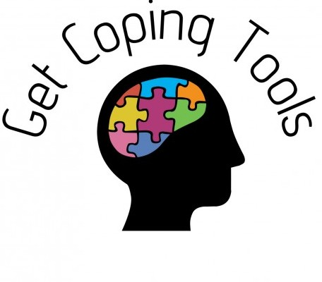 A brain with a coloured puzzle in it with a header saying 'get coping tools'