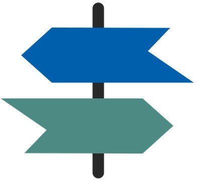 Two arrows pointing in opposite directions