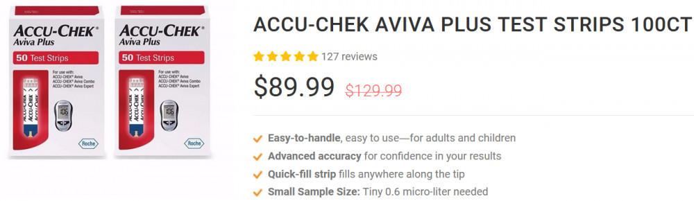 Accu-Chek Aviva Plus Test Strips 100ct by Akon