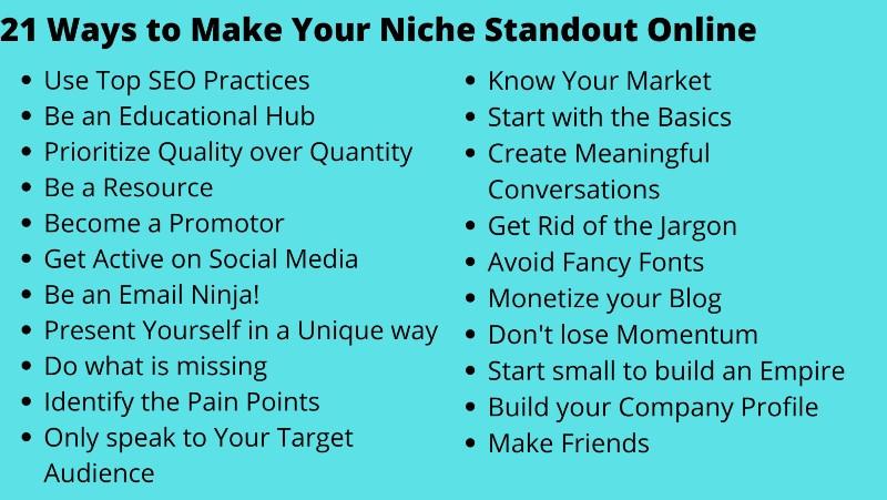 21 ways to make your niche standout online
