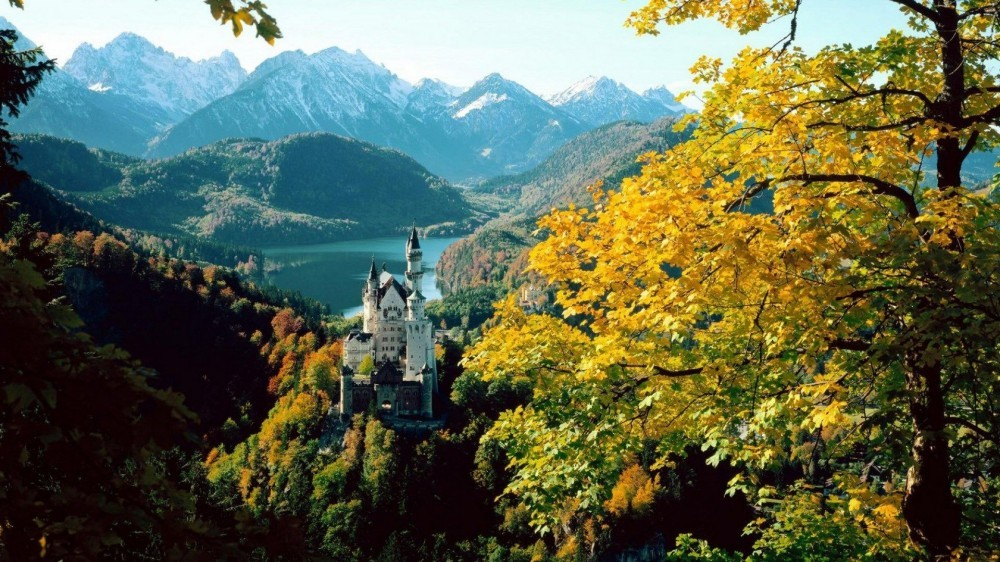 Neuschwanstein Castle in Germany, surrounded by the forest in autumn.