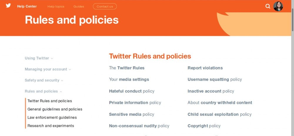 Twitter's Rules and Policies page.