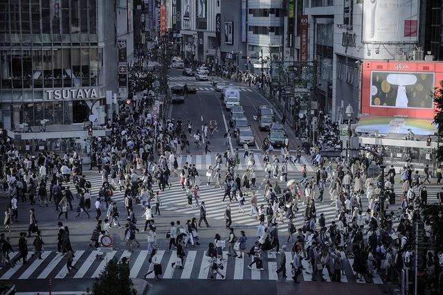 World Famous Scramble Crossing in Shibuya, Tokyo