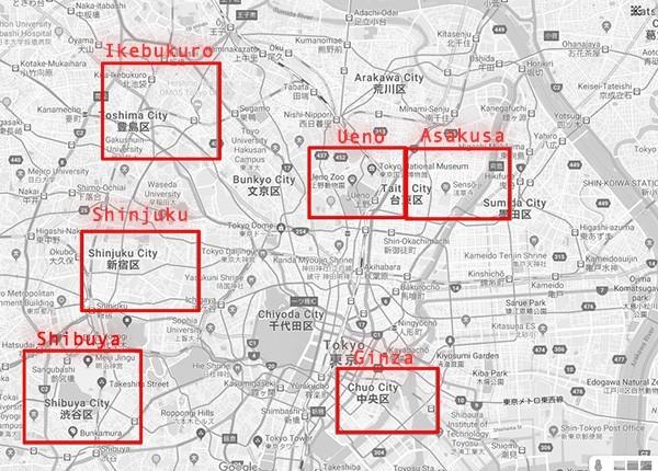 6 areas in Tokyo, Ikebukuro, Ueno, Asakusa, Shinjuku, Shibuya, Ginza