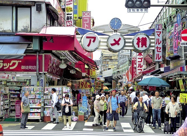 Famous Shopping Street, Ameyoko in Ueno, Tokyo