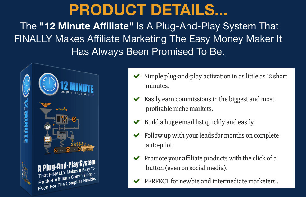 What Is The 12 Minute Affiliate? Its Basically A Done For You Product And A Provider With Quality Traffic To Your Email list. A Wonderfull Tool!